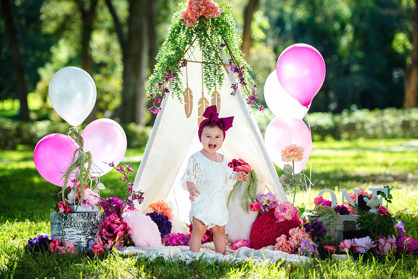 Boho one year old cake smash photography
