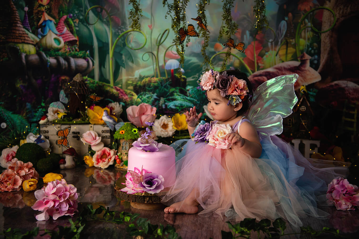 Enchanted fairy cake smash first birthday portrait