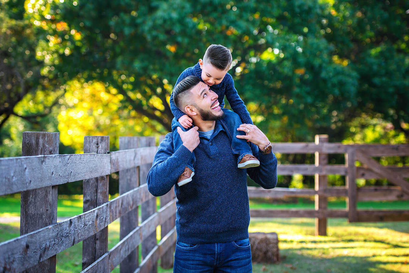 Family photography outdoors at the farm father and son photoshoot