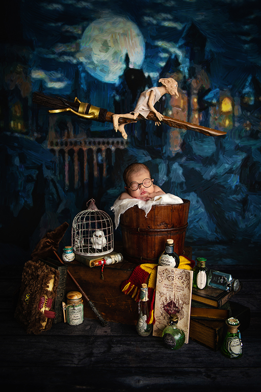 Harry Potter newborn photo shoot in studio