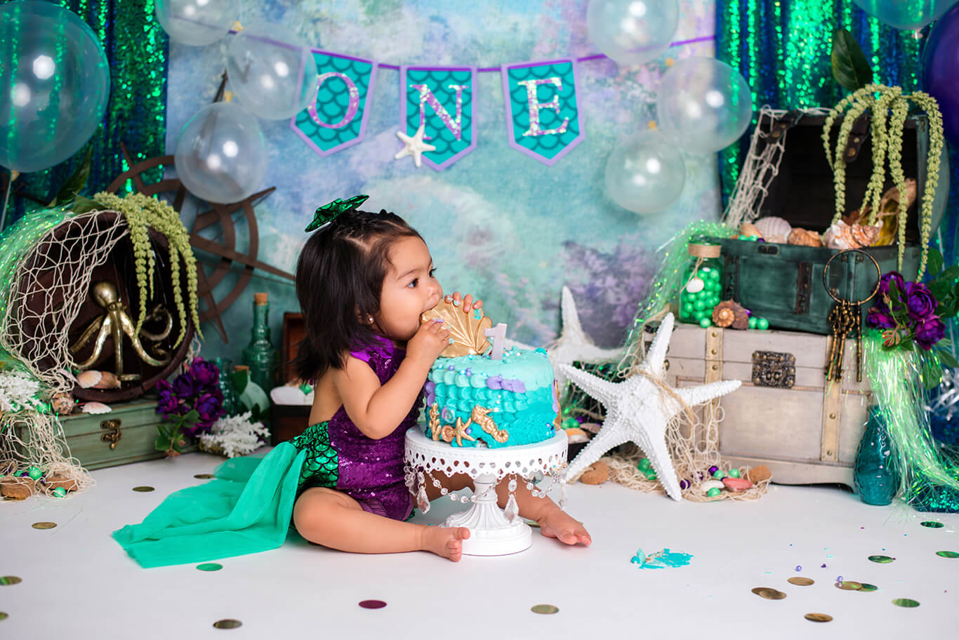 1 year old photography mermaid cake smash