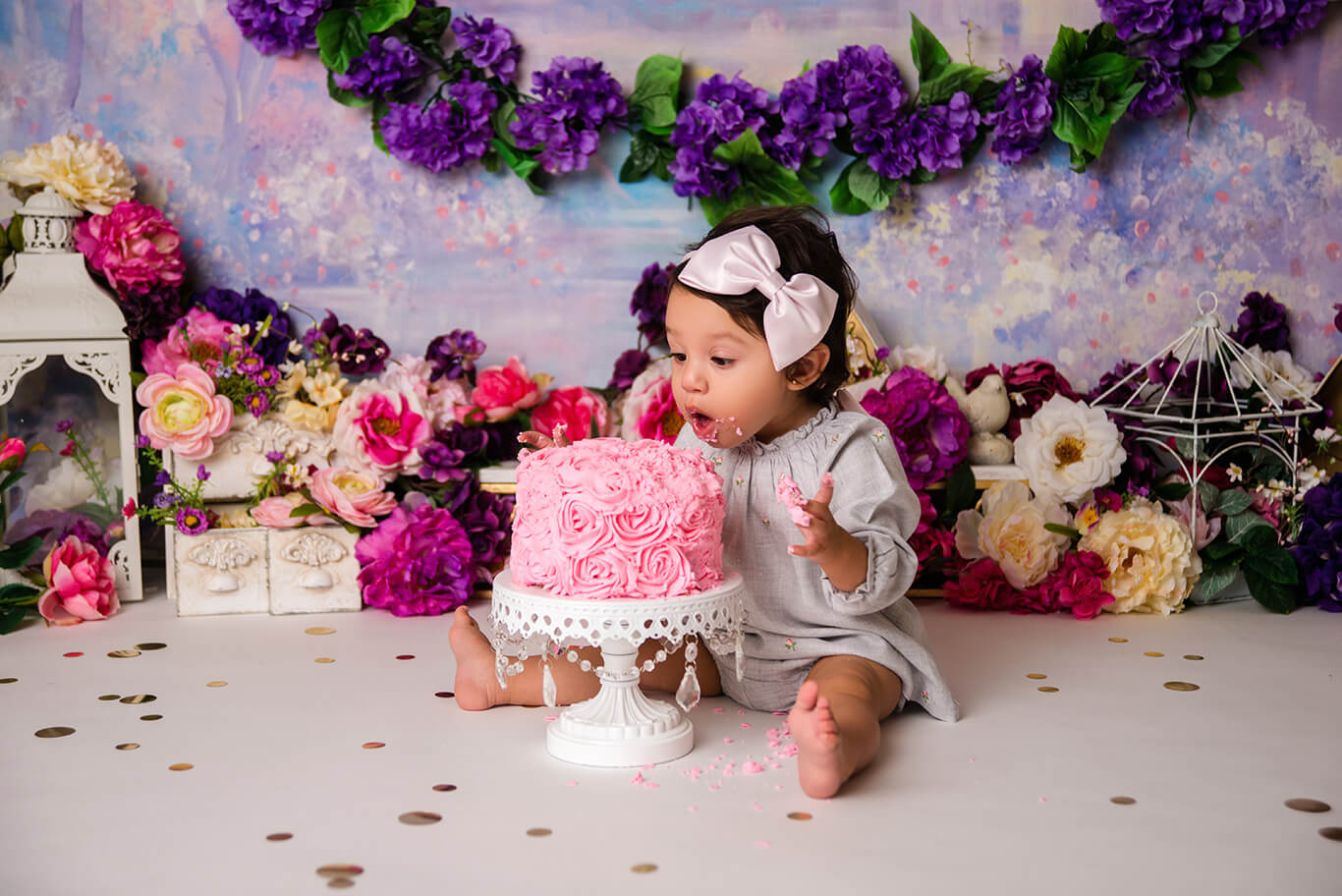 Purple floral baby girl cake smash