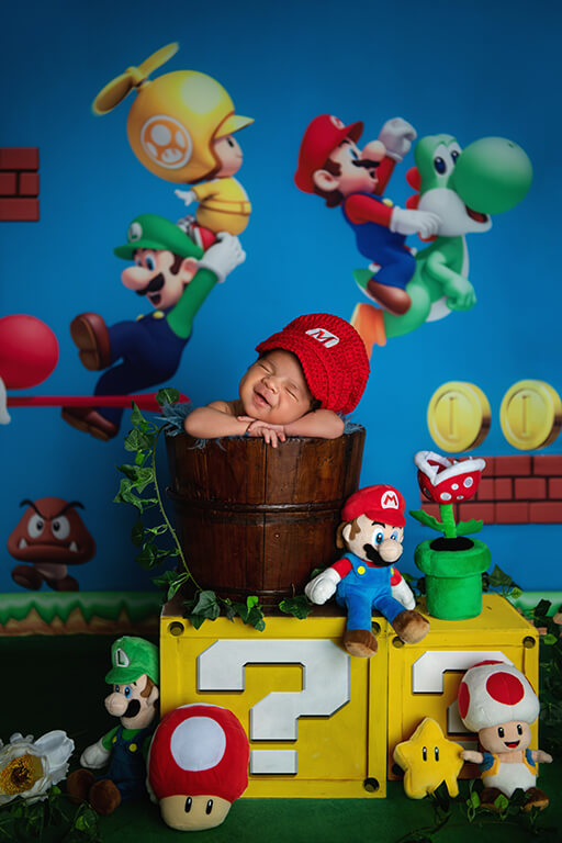 Super Mario newborn photography outfits boy