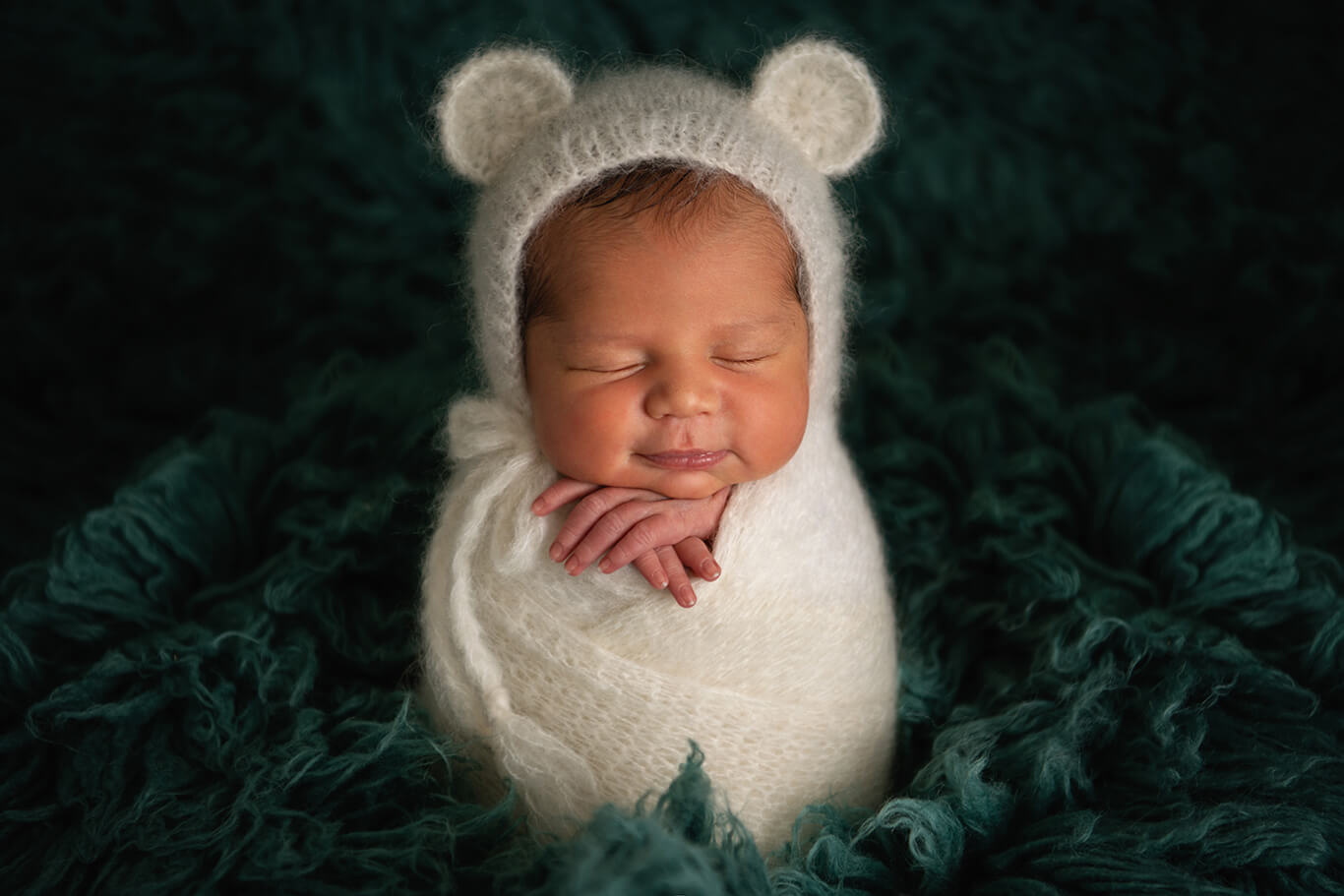 Newborn photographer Fort Worth white Teddy bear newborn portrait