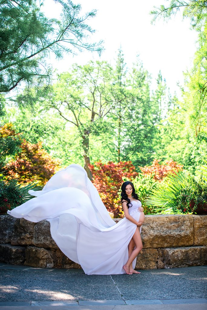 White designer maternity photography gowns
