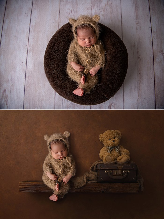 Before and after newborn photo shoot