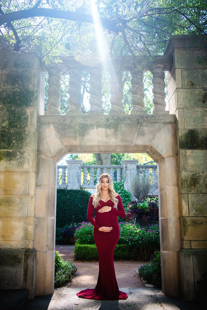 Red haute couture maternity photography dress