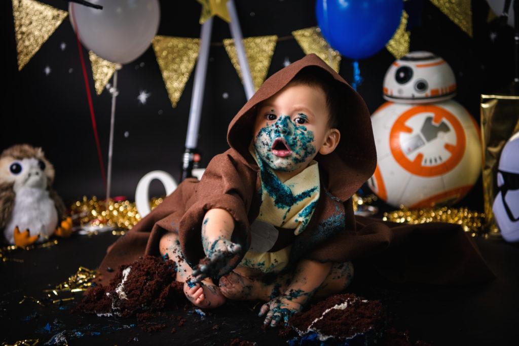 Cake smash photography baby Jedi star wars fan