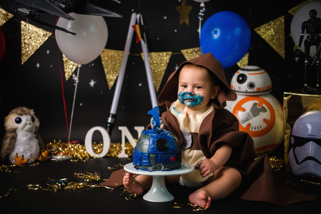 child photographer Dallas baby Jedi one year boy photoshoot