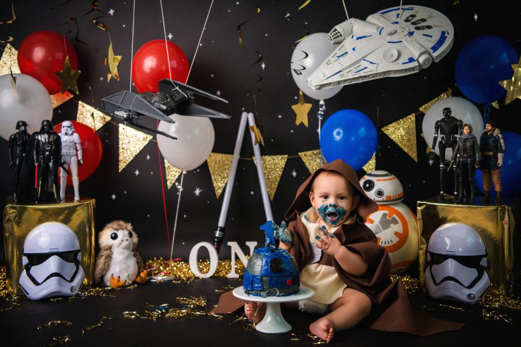 milestone Dallas TX baby Jedi cake smash costume