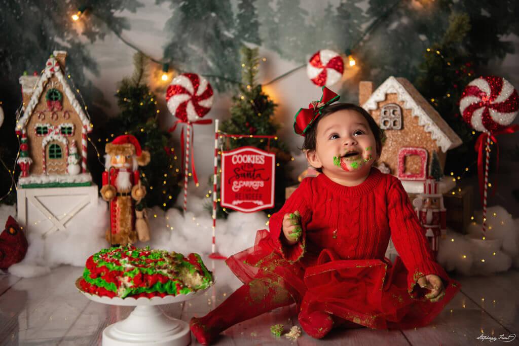 Christmas cake smash theme photoshoot