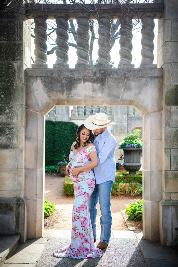 Dallas maternity photographer floral maternity gown