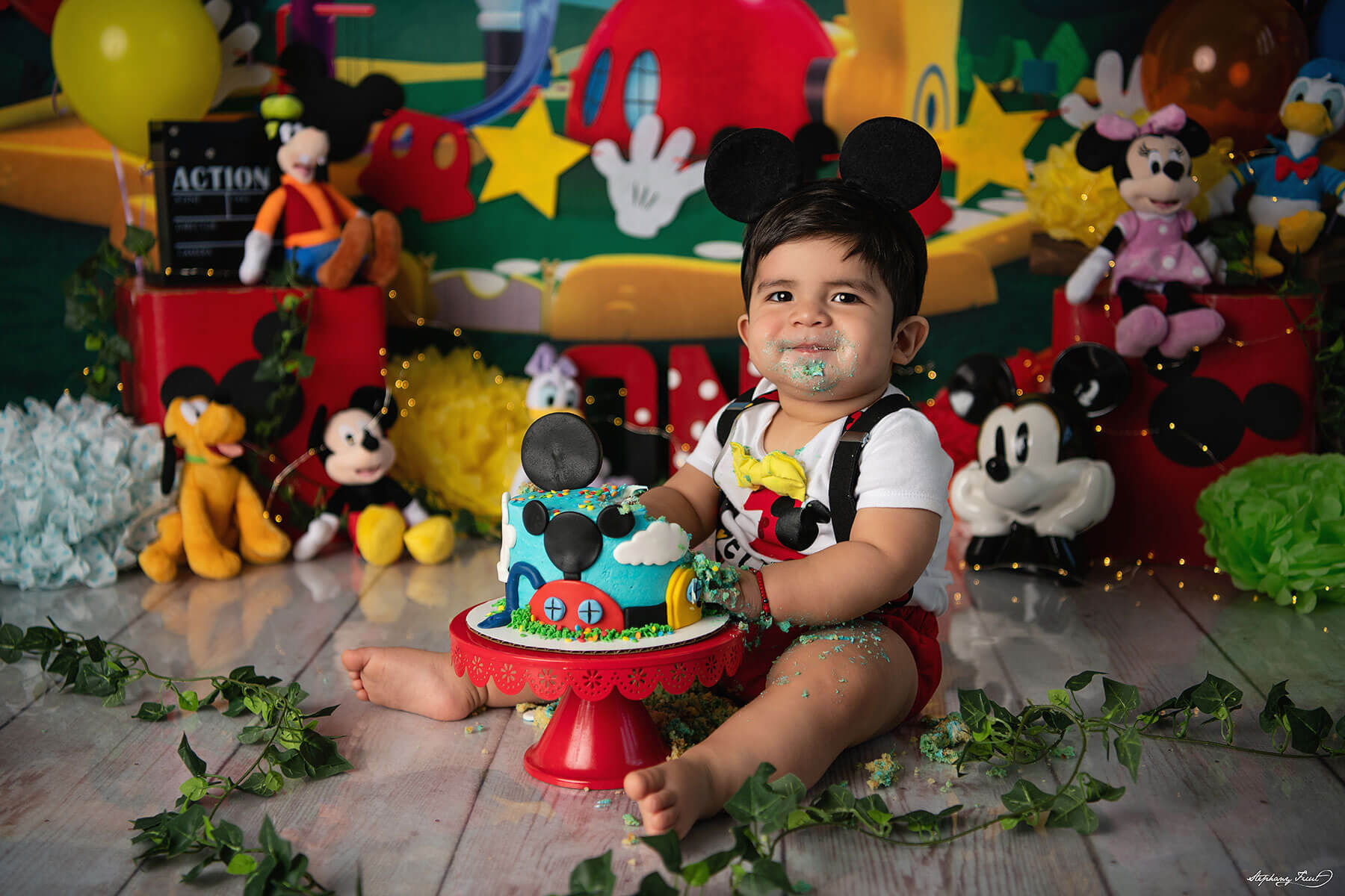 Mikey mouse baby boy cake smash themes