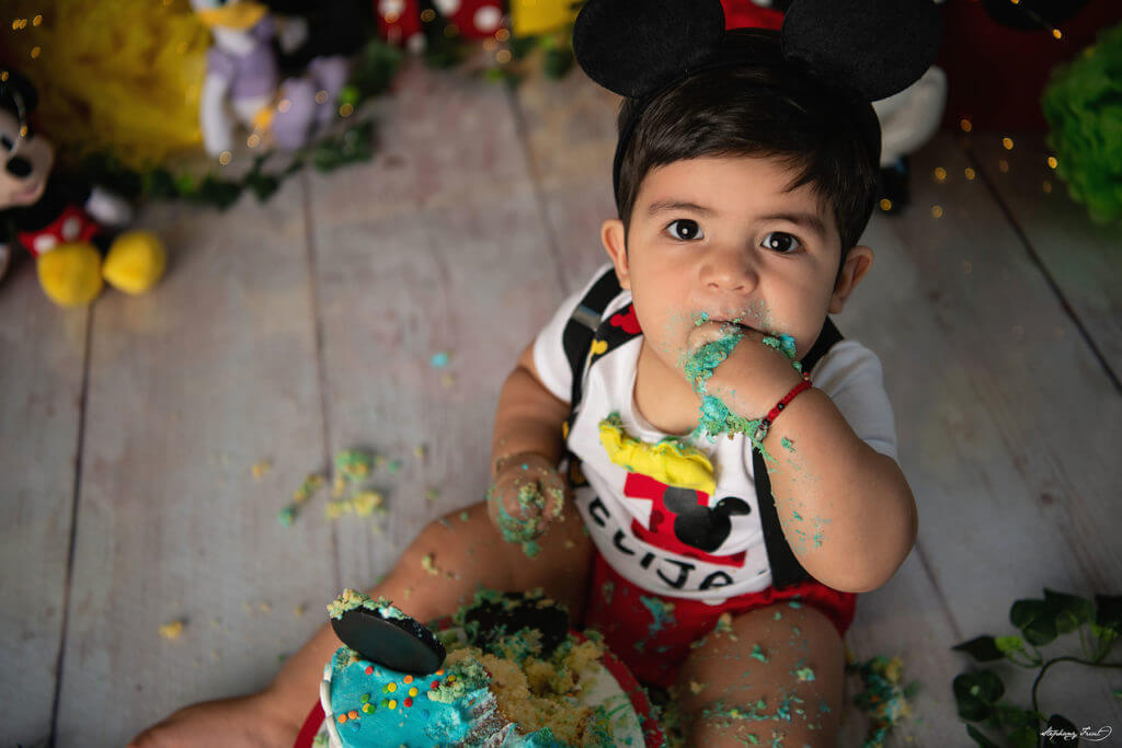 Cake smash photography Mickey Mouse first birthday