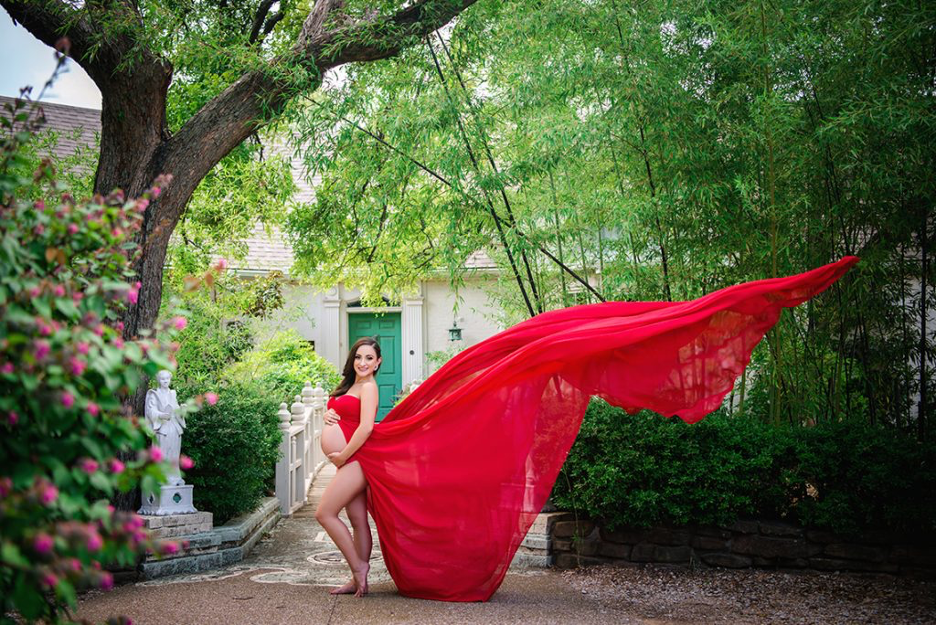 maternity gown red for outdoor maternity photo session