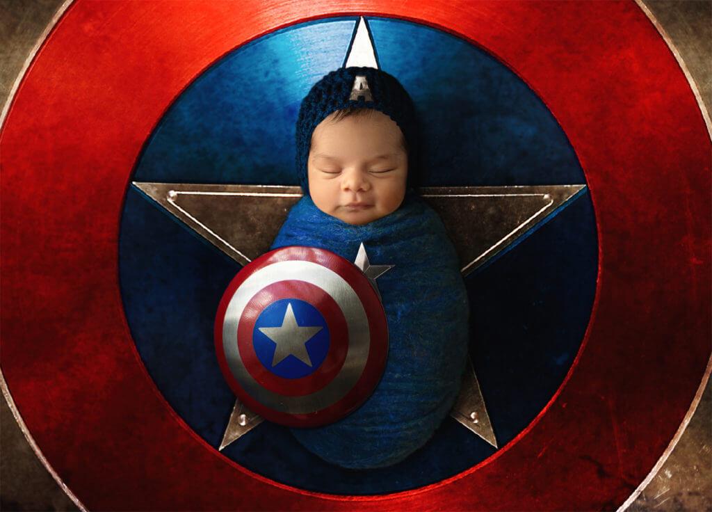 Captain America newborn photoshoot for baby boy
