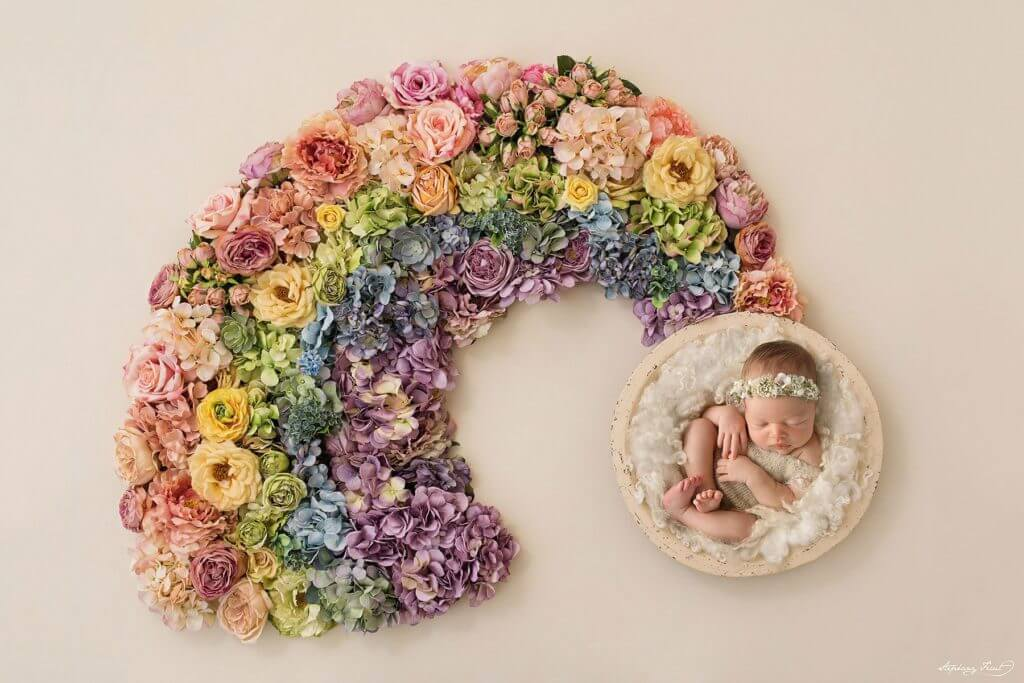 Rainbow baby newborn photography session