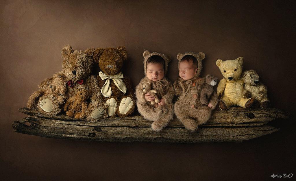 Teddy bear twin newborn photos