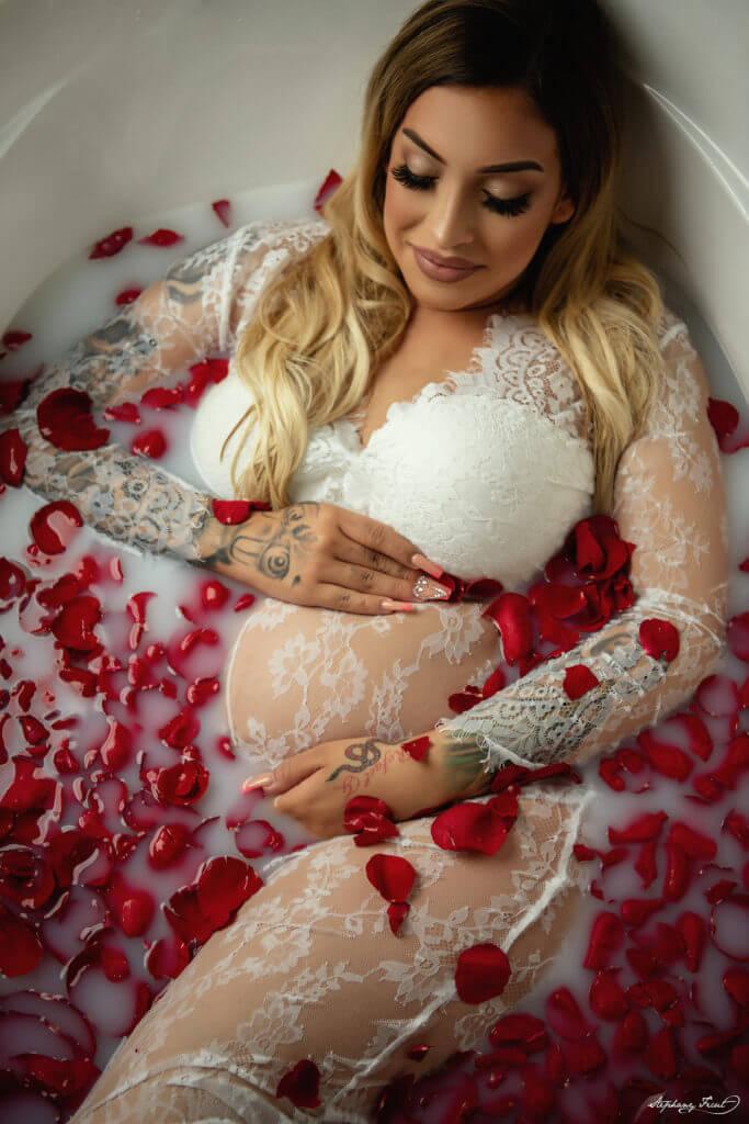 Rose milk bath photoshoot