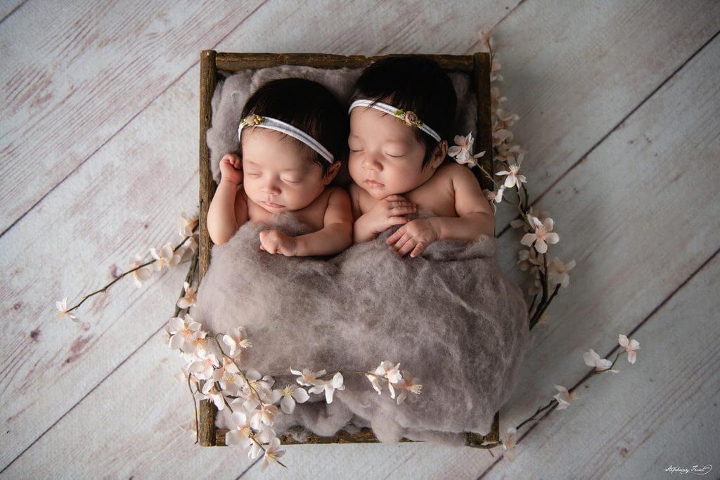 Twin newborn photoshoot studio